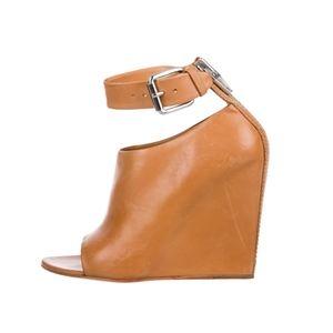 ALEXANDER WANG Tan Leather Peep-Toe Booties